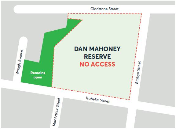 Dan Mahoney Reserve access map