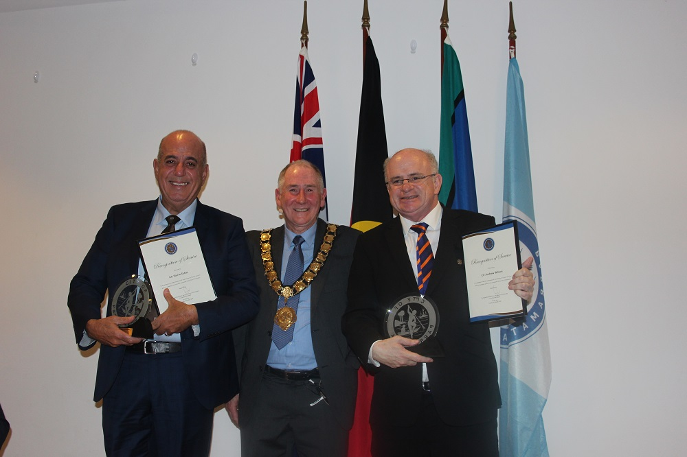 City of Parramatta Lord Mayor Cr Bob Wilson at the 20 Year Service Presentation with Cr Esber (left) and Cr Wilson (right).