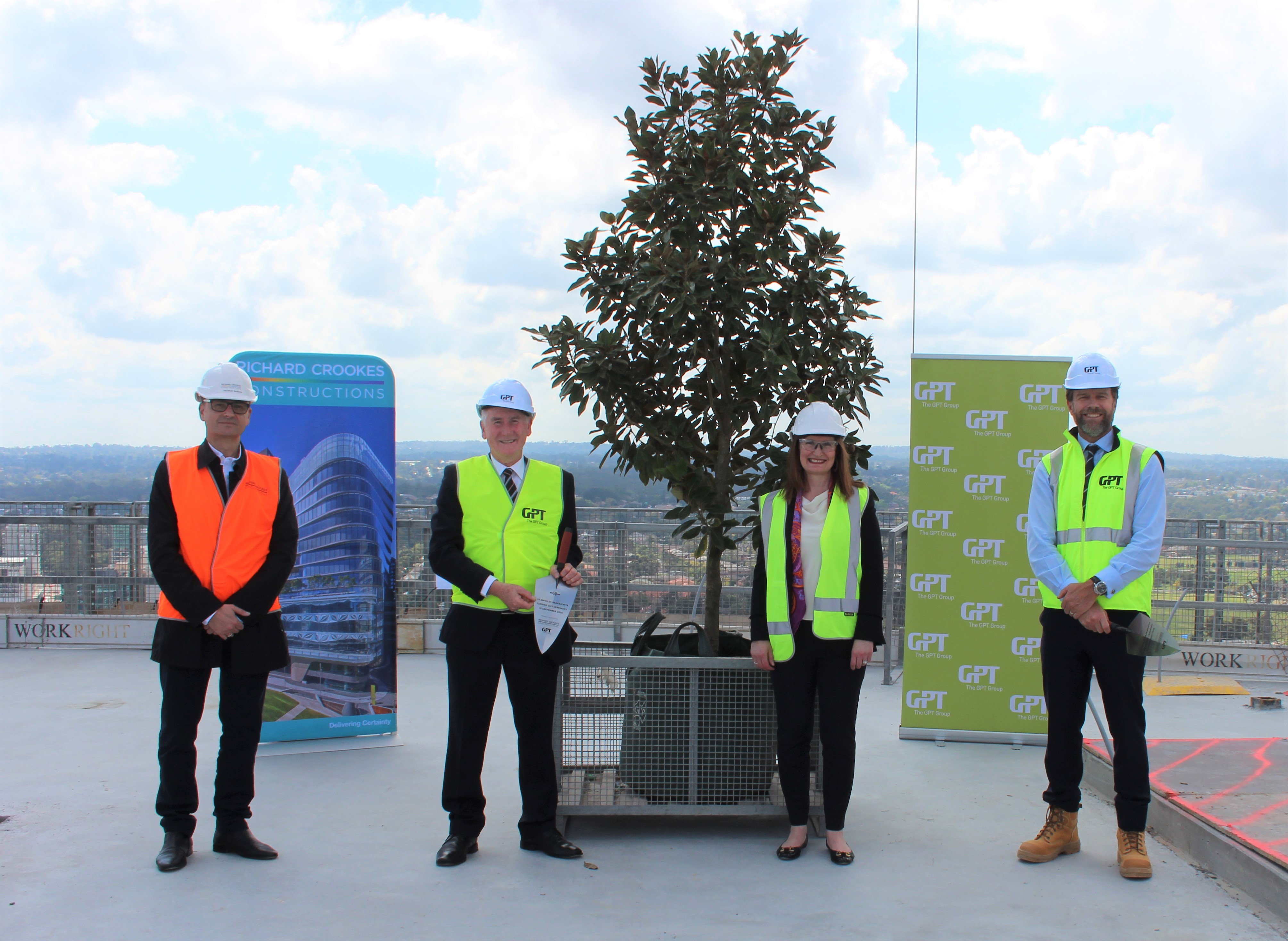 City of Parramatta Council Lord Mayor Cr Bob Dwyer (second from left) with Richard Crookes Constructions CEO George Bardas (far left), QBE Insurance's Fiona Hayes-St Clair (second from right) and GPT's Matthew Faddy (far right) at the 32 Smith St Topping Out ceremony.