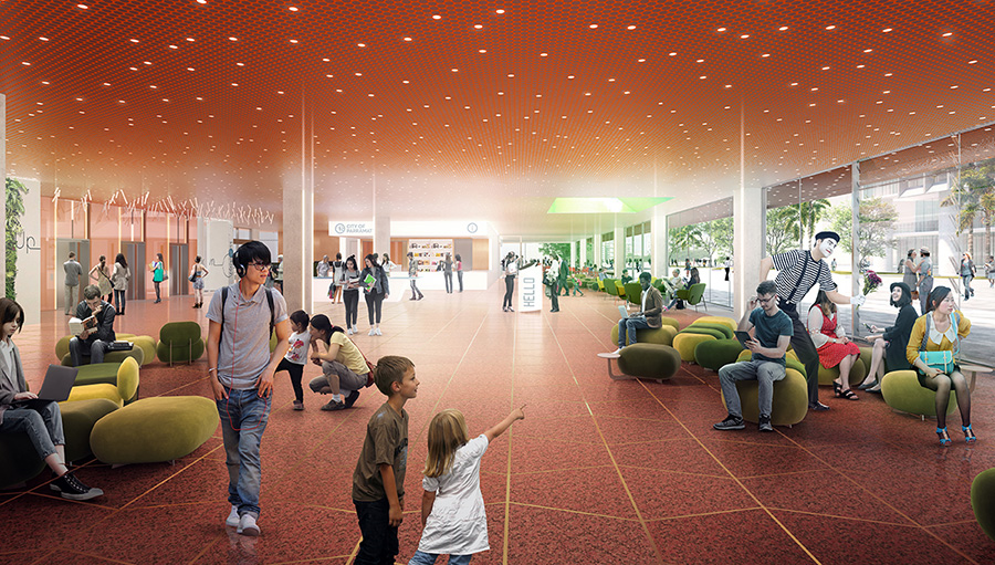 Artist impression of the ground floor lobby, 5 Parramatta Square