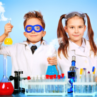 two children dressed as scientists