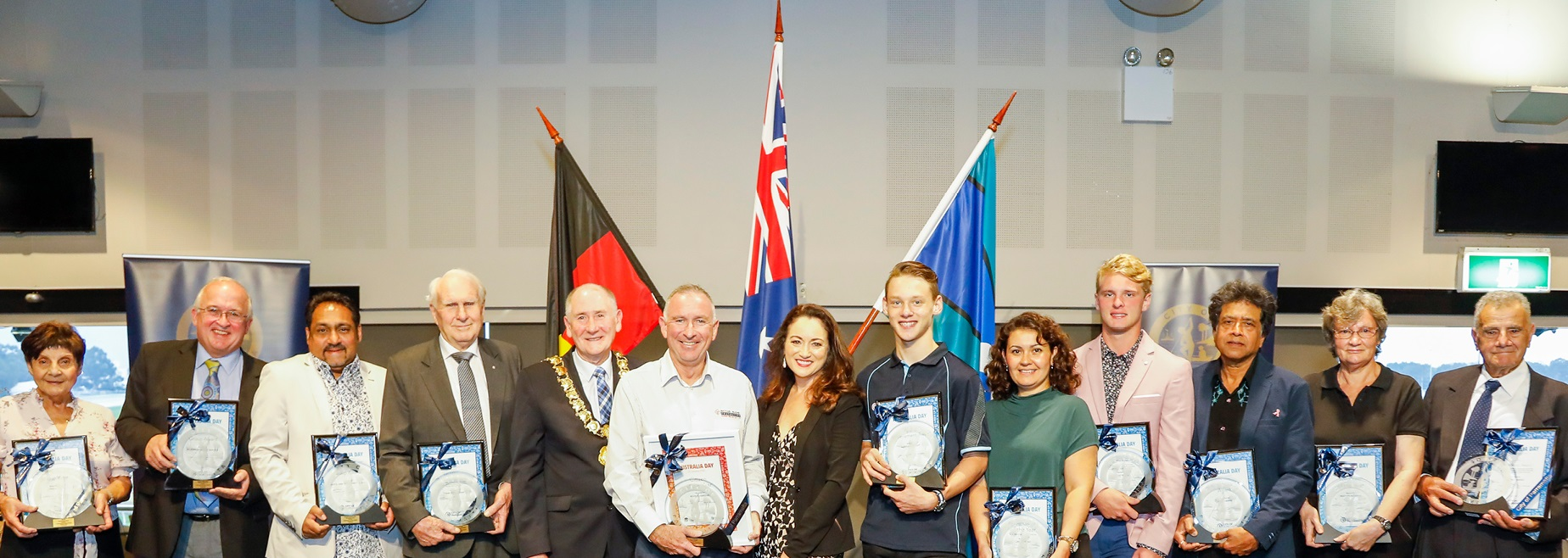 Lord Mayor Bob Dwyer and award winners at the Australia Day awards ceremony