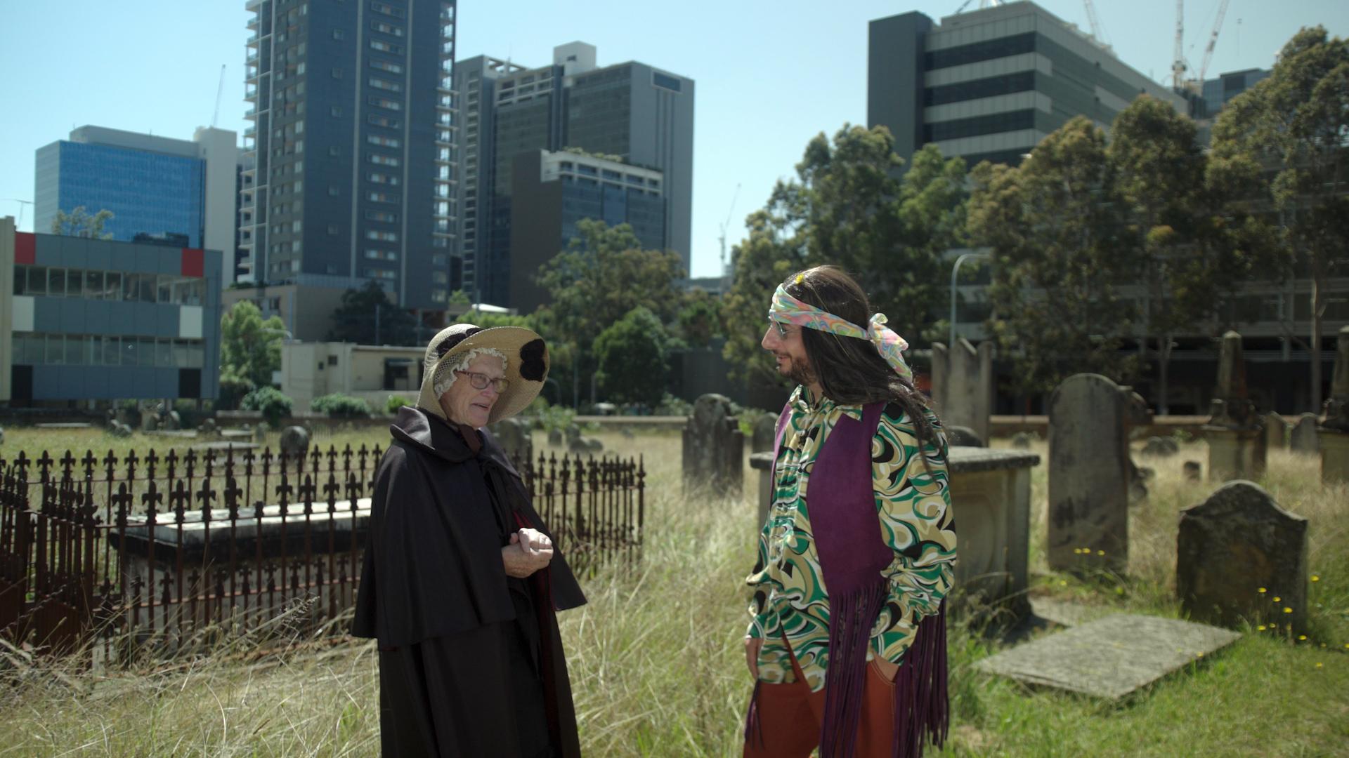 Historian Judith Dunn and Dan Ilic in St John's Cemetery, Parramatta