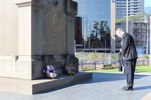 City of Parramatta Lord Mayor Cr Bob Dwyer at the Victory in the Pacific wreath-laying ceremony at Parramatta Cenotaph, on Saturday 15 August.