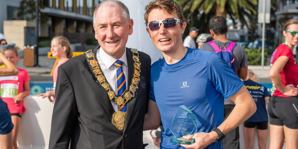City of Parramatta Lord Mayor Cr Bob Dwyer with Caleb Wegener, winner of the 10km event at the BBBRUN.