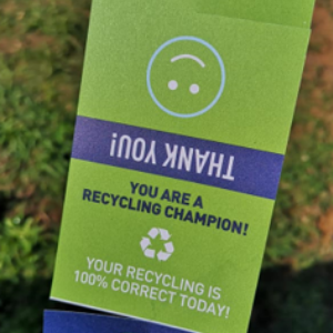 Green recycling tag - you are a recycling champion.