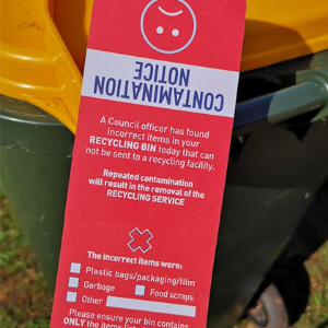 Recycling red tag - Contamination notice