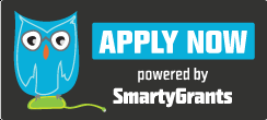 Blue owl text: Apply now, powered by SmartyGrants