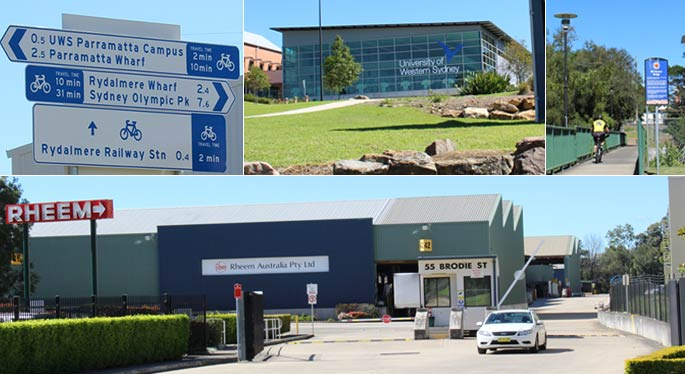 Street signs, University of Western Sydney and business district of Rydalmere