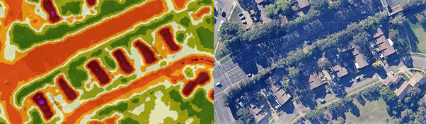 A side by side comparison of an aerial shot of the constitution hill area with a heat map