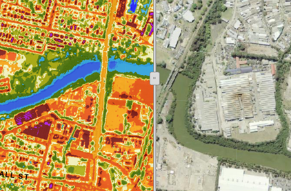 Image of an aerial view of the Parramatta river at james ruse drive compared side by side with a heat map of the area