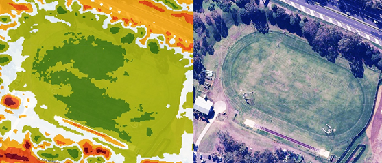 Image of an an aerial shot of barton park at north parramatta compared side by side with a heat map of the area