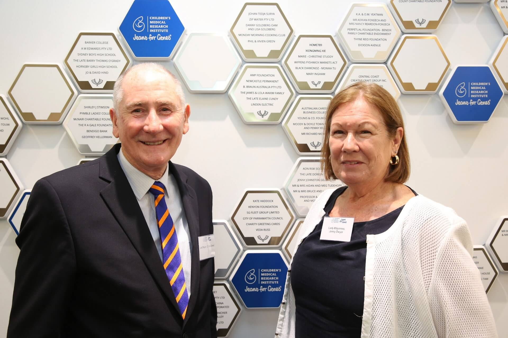 Lord Mayor and Lady Mayoress in front of the CMRI Honour Wall