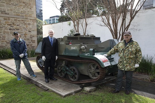 City of Parramatta Lord Mayor Cr Bob Dwyer inspecting the ACE Matilda Tank at the New South Wales Lancers' Memorial Museum.