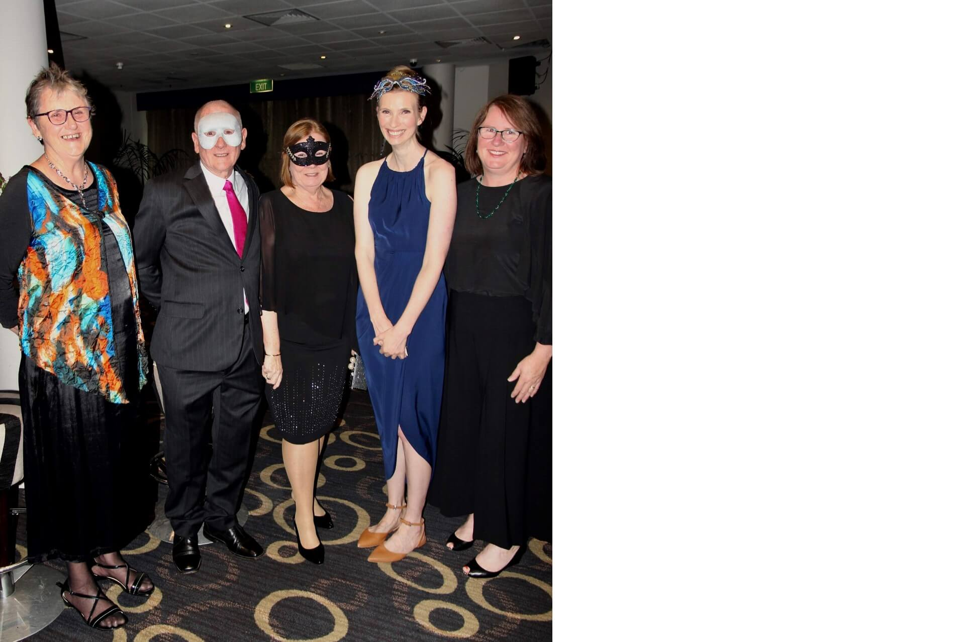 Lord Mayor with Cr Patricia Prociv, Lady Mayoress Jenny Dwyer, Liz Scully Parramatta Women's Shelter Chair, Cr Donna Davis at the Masquerade Ball