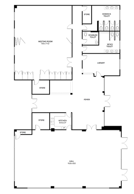 Floor plan of Newington Community Centre