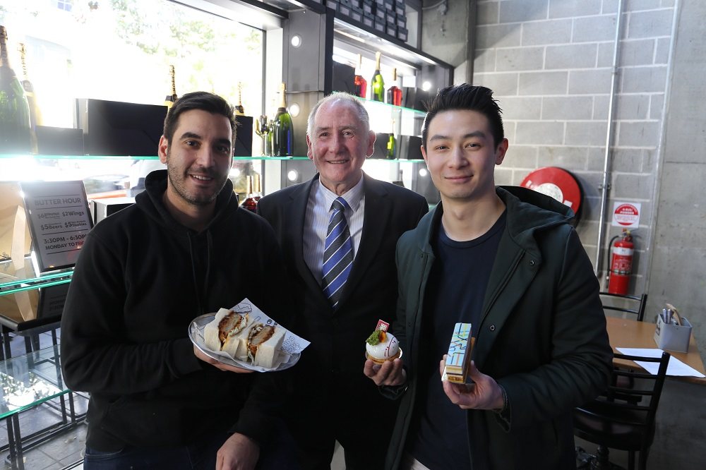 City of Parramatta Lord Mayor Cr Bob Dwyer pictured with Julian Cincotta Chef and Co-Owner of Butter (left) and Reynold Poernomo Co-Owner of KOI Dessert Bar & Dining (right).
