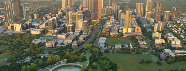 Aerial shot of the Parramatta CBD