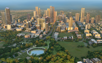 Aerial shot of Parramatta CBD