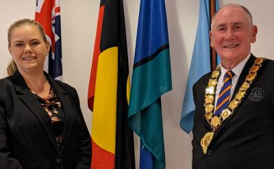 Councillor Michelle Garrard stands next to the Lord Mayor