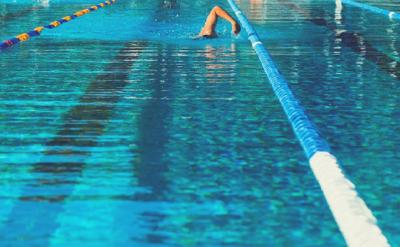 A swimmer lap swimming in the pool