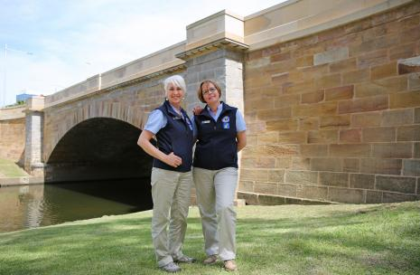 Two guides in front of Lennox Street Bridge