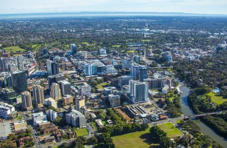 Aerial photo of Parramatta and the River to the right