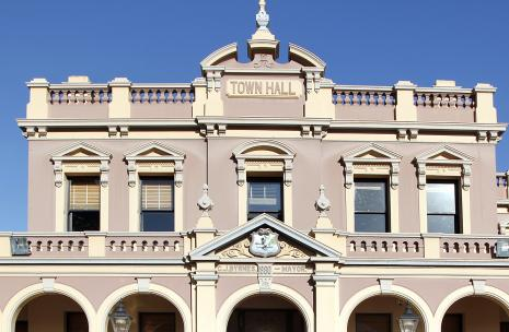 Top part and front facade of Parramatta Town Hall