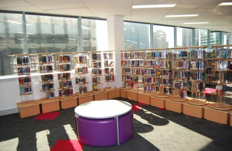 Level 1 of Library - showing the collection of CD's and DVD's