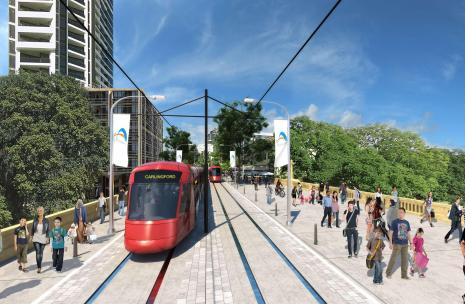 Artist impression of Parramatta Light Rail - Lennox Bridge