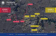 Timeline of  stage 1 and 2 of the Parramatta Light Rail project