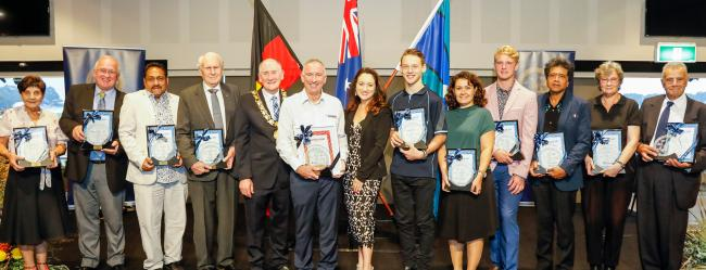 Lord Mayor and award winners at the Australia day awards ceremony